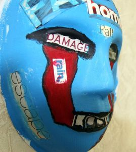 PTSD A mask, painted by a Marine who attends art therapy to relieve ptsd